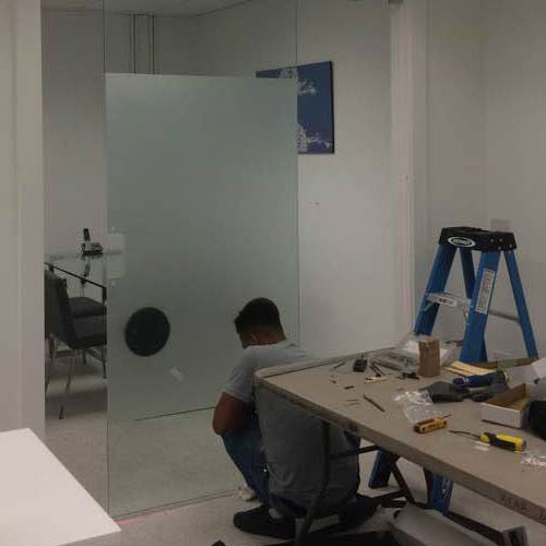 acid etch glass door installation
