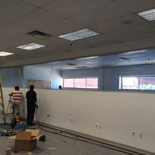 glass partition installation