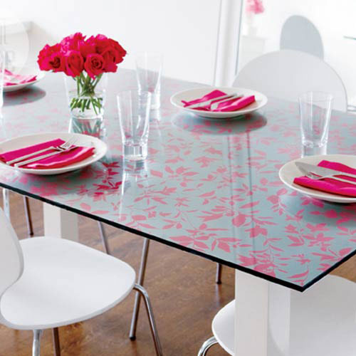 printed glass table